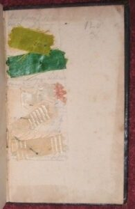 Fabric samples in back of Planta 1814 [DH 1234]