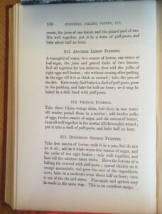 Bllack and white image of page 188 of the book Dainty dishes showing the Dunnikier Orange Pudding
