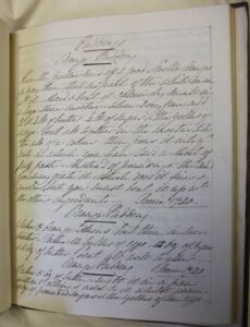 Black and white image of a page from a handwritten recipe book